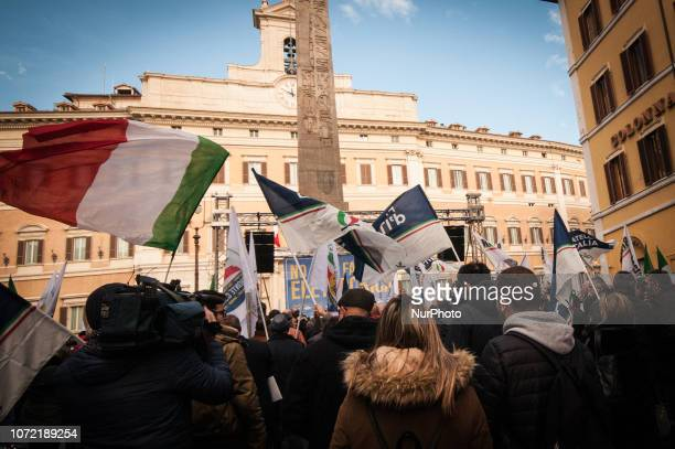 Mobilization of Fratelli d'Italia against electronic invoicing in Piazza Montecitorio on Rome Italy 12 December 2018