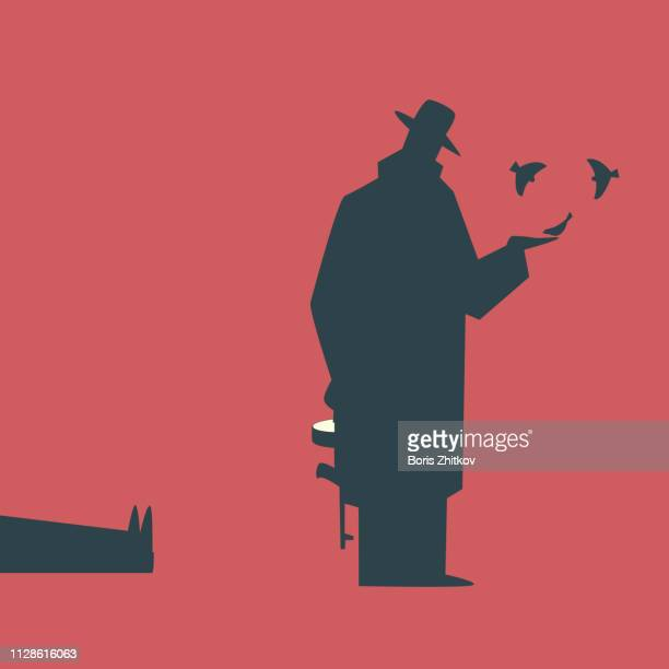 mobster feeding the birds - dead gangster stock pictures, royalty-free photos & images