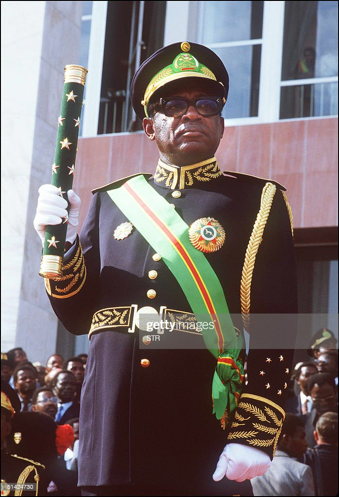 Mobutu Sese Seko President Of Zaire Holding A Stick