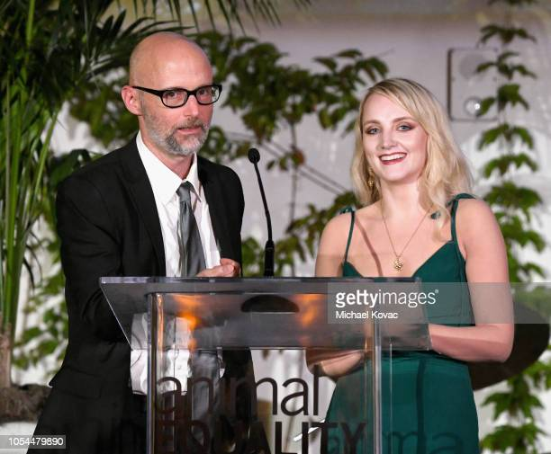 Moby and Evanna Lynch speaks onstage at the Animal Equality Inspiring Global Action Gala at The Beverly Hilton Hotel on October 27 2018 in Beverly...