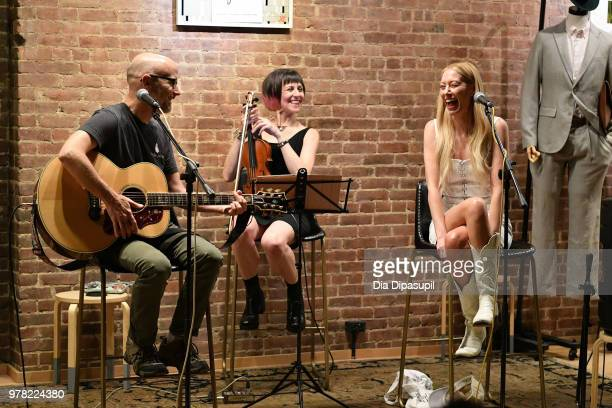 Moby and recording artist Julie Mintz perform at Sofar Sounds NYC at ONS Clothing on June 18 2018 in New York City