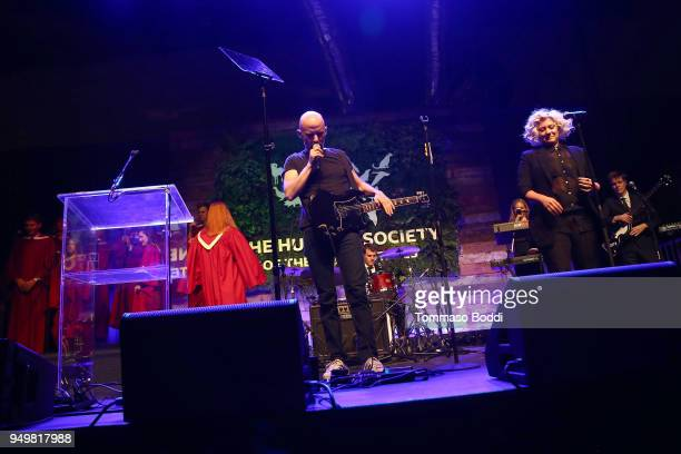 Moby performs on stage during The Humane Society Of The United States' To The Rescue Los Angeles Gala at Paramount Studios on April 21 2018 in Los...