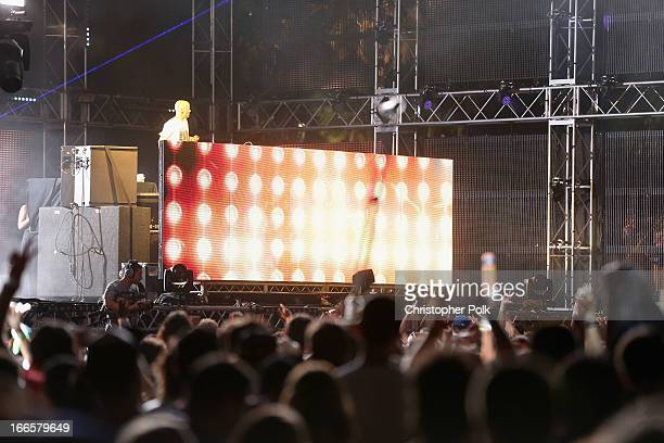 Moby performs onstage during day 2 of the 2013 Coachella Valley Music Arts Festival at the Empire Polo Club on April 13 2013 in Indio California