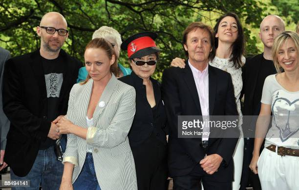 Moby, Stella McCartney, Yoko Ono, Paul McCartney, Mary MacCartney and James McCartney pose for the media as The McCartney Family Launches �Meat Free...