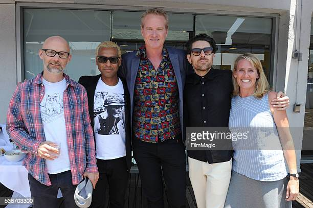 Moby, Tony Kanal, Dan Mathews, Davey Havok and Tracy Reiman attend the LA Launch Party for Prince's PETA Song at PETA on June 7, 2016 in Los Angeles,...