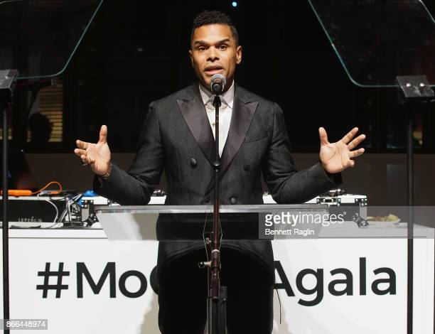 MoCADA Honorary Chair Maxwell speaks onstage during the MoCADA 3rd Annual Masquerade Ball at Brooklyn Academy of Music on October 25 2017 in New York...