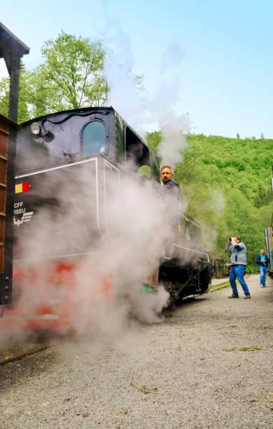 Mocanita steam train driver in Viseu de Sus, Maramures, Romania