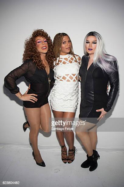 Mocha Lite Munroe Bergdorf and Misty Meaner attend Tinder x GLAAD Celebrate Inclusion Acceptance Equality at Skylight Clarkson Sq on November 16 2016...
