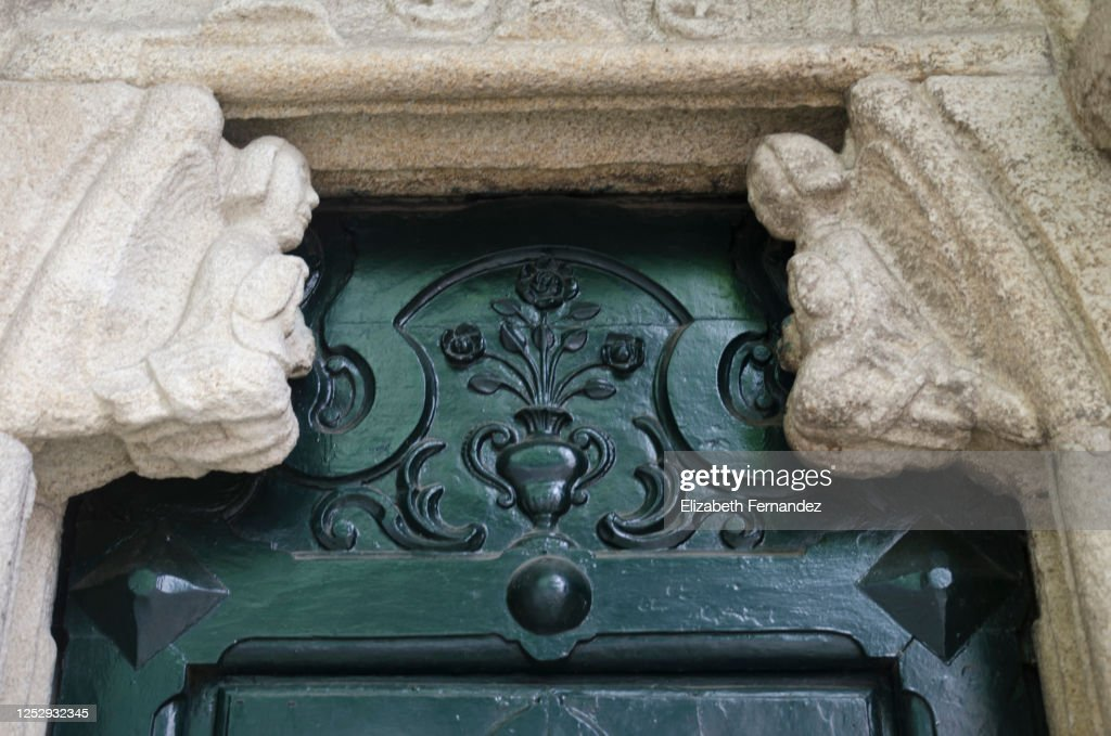Mochetas That Supports The Tympanum Of The North Door At The Colegiata De Santa Maria Del Campo Church A Coruna Spain High Res Stock Photo Getty Images
