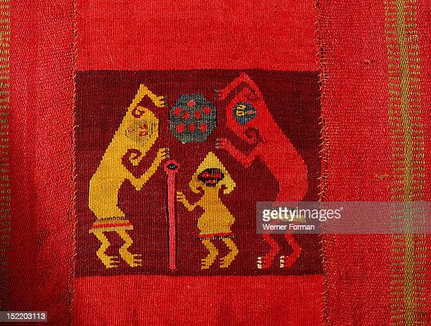 Mochica textile showing three supernatural figures, Detail of different panels. Peru. Mochica. 0 700 AD. North coast of Peru.