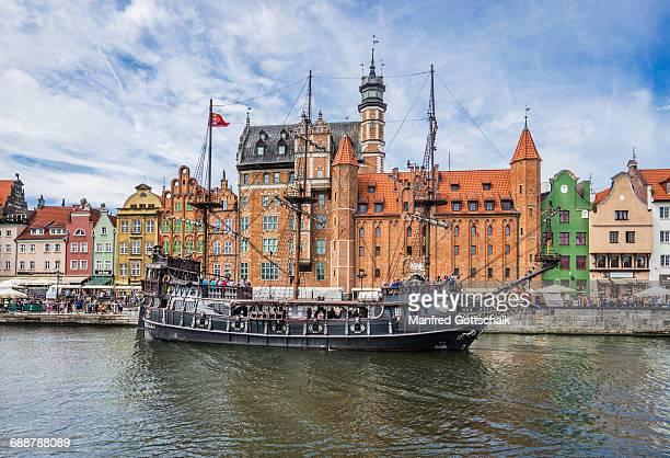 mock 17th century galleon csarna perla - motlawa river stock pictures, royalty-free photos & images