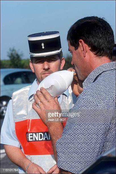 Mock car crash with policemen of the Loire Atlantique prefecture in Nantes France on October 02 2001 Alcohol testing