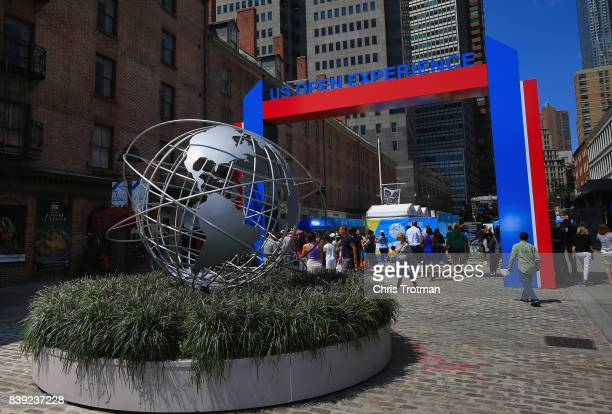 A mock unisphere is seen at the entrance to the US Open Experience prior to the start of the 2017 US Open at the South Street Seaport on August 24...