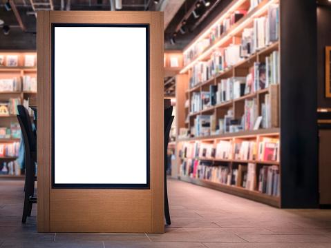 Mock up Banner Blank media Lightbox Bookstore interior Background 862286358