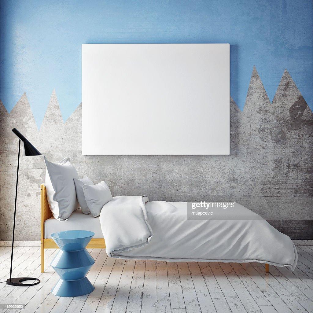 Mock Up Leere Poster An Der Wand Mit Schlafzimmer : Stock Foto