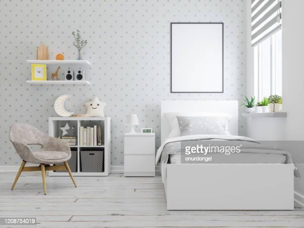 moldura simulada no interior do quarto de adolescente - bedroom photos - fotografias e filmes do acervo