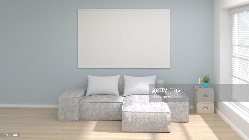 Mockup moderne wohnzimmer poster frame drendering helles