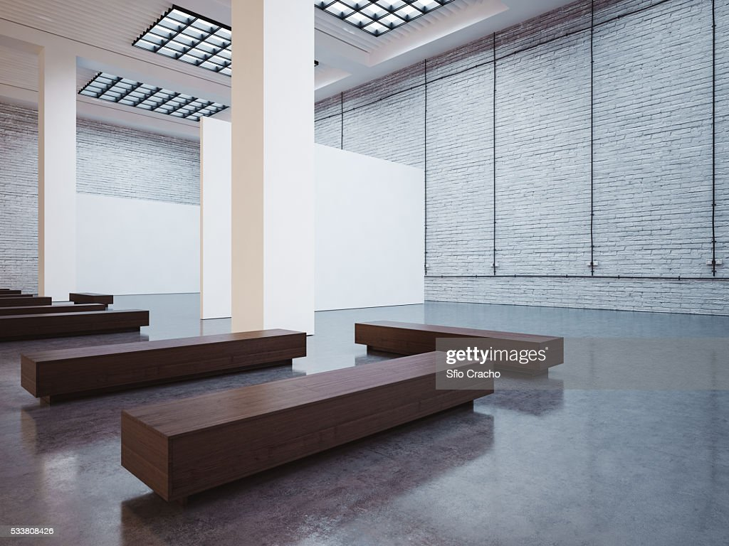 Mock up of empty gallery interior : Foto stock