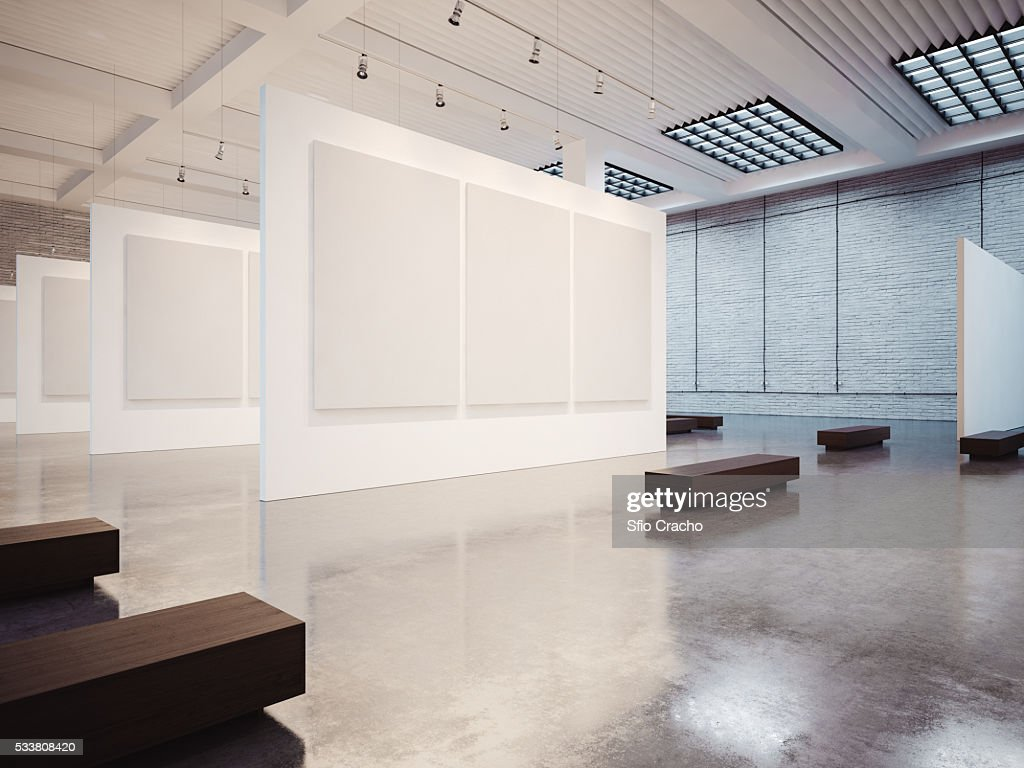 Mock up of empty gallery interior with white canvas : Foto stock