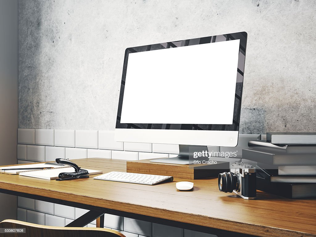 Mock up of generic design computer screen on the table. Workspace in the white loft. 3D rendering : Stock-Foto