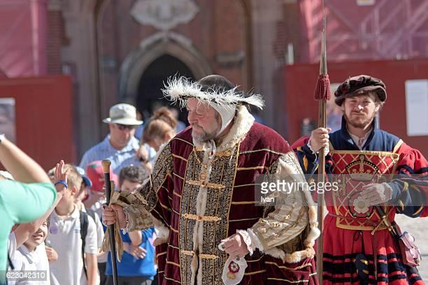 Mock up of Henry VIII at Hampton Court, London, UK