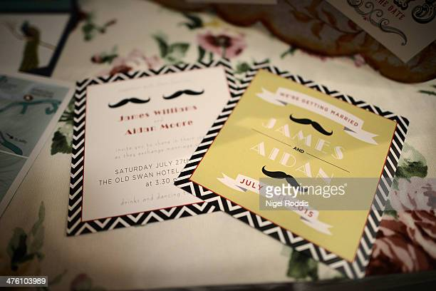A mock up of same sex wedding invitations on display at the Gay Wedding Show at the Queens Hotel on March 2 2014 in Leeds England Legislation to...