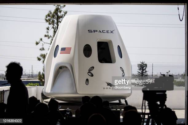Mock up of the Crew Dragon spacecraft is displayed ahead of the NASA Commercial Crew Program astronaut visit at the Space Exploration Technologies...
