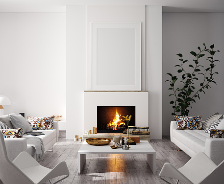 Mock up poster in modern home interior with fireplace, Scandinavian style 1167315810
