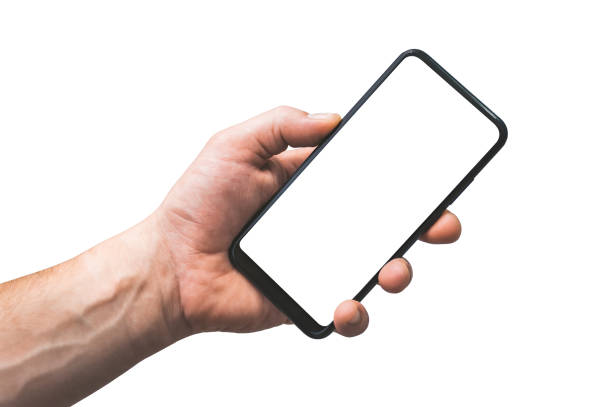mock up smartphone isolate in hand man - closeup, on a white background. - human hand stock pictures, royalty-free photos & images