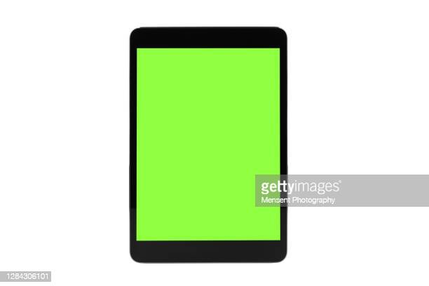 mock up tablet isolated with chroma key isolated, on white background - digital tablet stock pictures, royalty-free photos & images