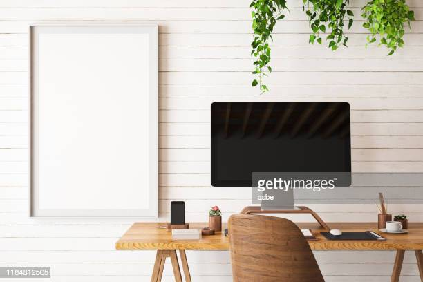 mock up work space with computer - desk stock pictures, royalty-free photos & images