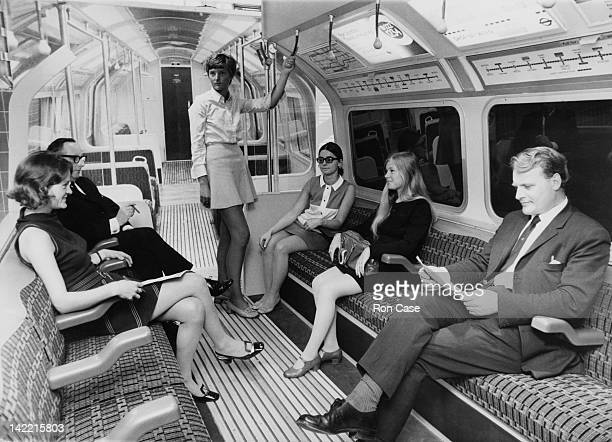 A mockup at the 'Victoria Line' exhibition at the Design Centre London of the interior of a new type of carriage which will be used on the new...