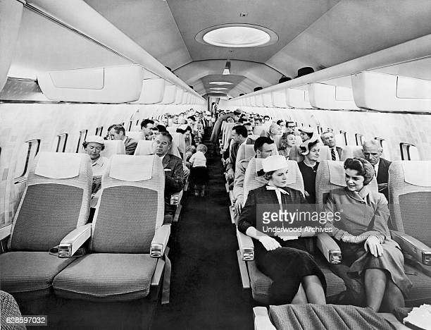 A mockup model of the cabin of the new Boeing 707 Stratoliner circa 1957 The plane's first commercial flight was by Pan Am in 1958