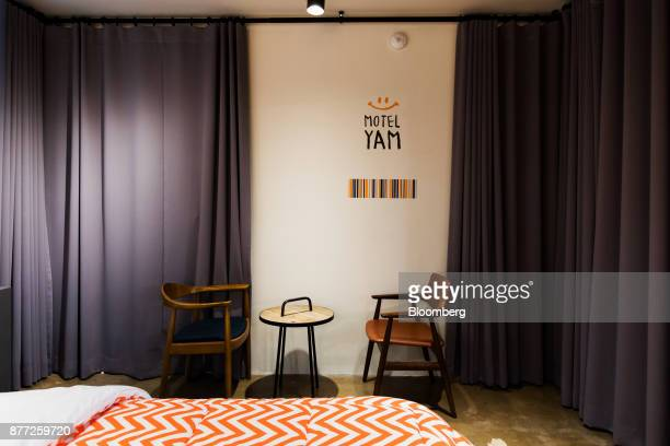 A mockup motel room is displayed at the Yanolja Co headquarters in Seoul South Korea on Tuesday Oct 10 2017 Yanolja Korean for 'hey let's play' is...