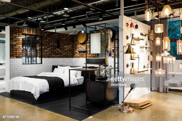 Mockup motel rooms are displayed at the Yanolja Co headquarters in Seoul South Korea on Tuesday Oct 10 2017 Yanolja Korean for 'hey let's play' is...