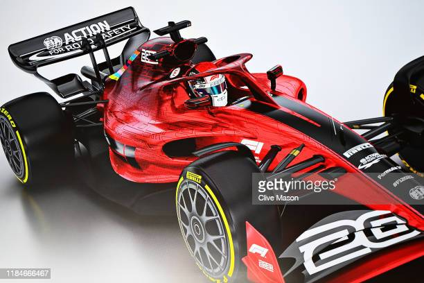 A mockup of a car is shown on a screen in a press conference to announce the rules for the 2021 Formula One season during previews ahead of the F1...