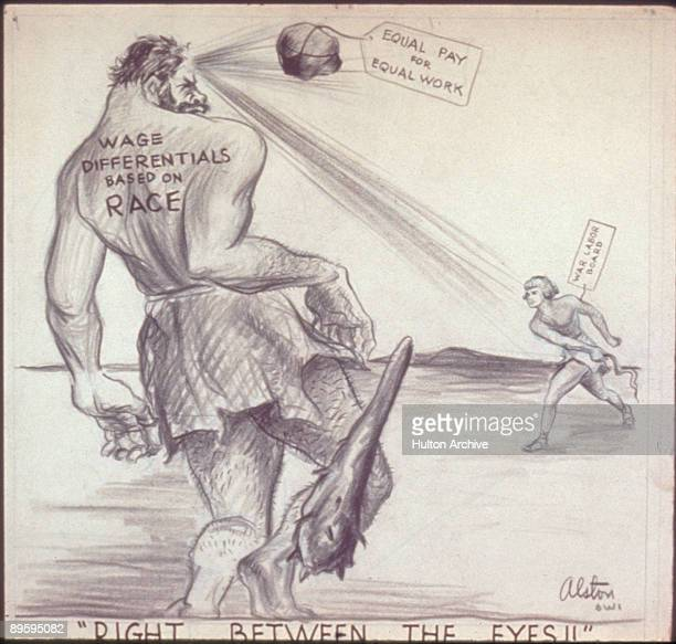 Mockup of a cartoon that depicts a figure who represents the 'War Labor Board' who throws a stone tagged 'Equal Pay for Equal Work' at a Goliathlike...