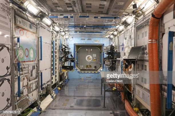 A mockup of the US Destiny Laboratory at the International Space Station is seen inside the Space Vehicle Mockup Facility during a media preview for...