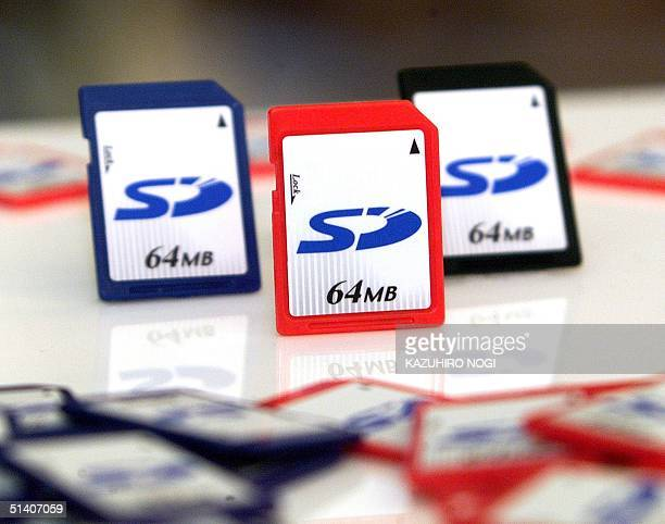 Mockups of the SD memory card sit on display at a press conference held by Japan's Matsushita Electric Industrial Co Ltd Toshiba Corporation and...