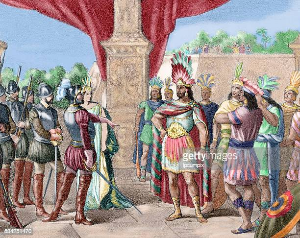 Moctezuma II Ninth tlatoani or ruler of Tenochtitlan reigning from 1502 to 1520 Hernan Cortes takes prisoner Moctezuma II Colored engraving 1875