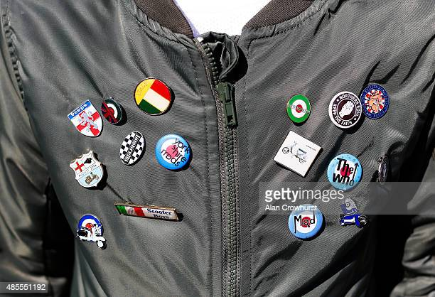 Mod badges on a jacket during the Brighton Mod Weekender where mods and their scooters gather on the annual bank holiday weekend event on August 28...