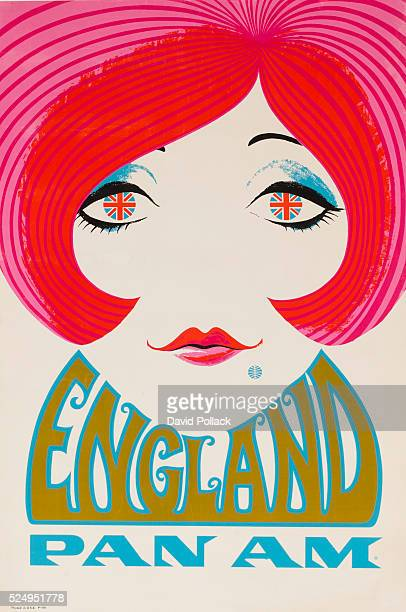 Mod Girl with Union Jack eyes and Pan Am logo mole ca 1970