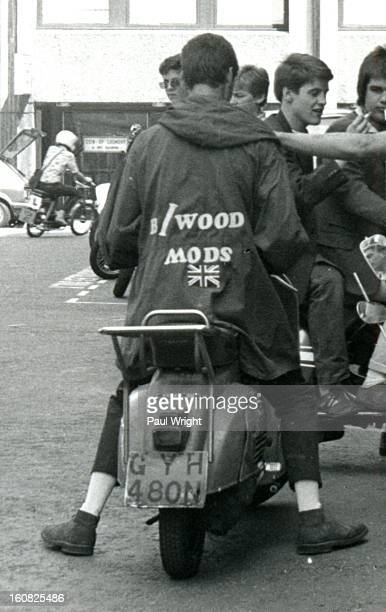 Mod on a scooter in the Carnaby Street area of London filming 'Steppin' Out', summer 1979. 'Steppin' Out' is a short music documentary movie that was...