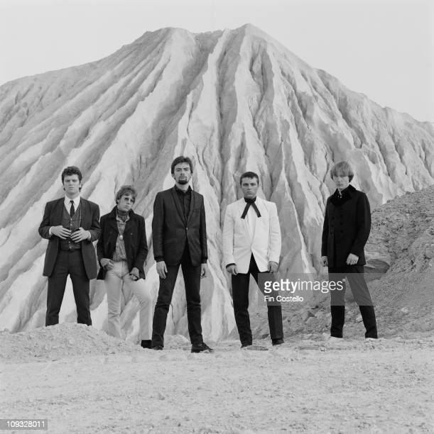 Mod revival band Secret Affair posed at a China Clay quarry in Cornwall England in September 1981 LR Dave Winthrop Paul Bultitude Ian Page Dave...