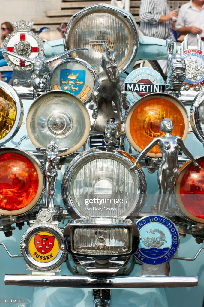 Mod scooter with lights and badges : Stock Photo