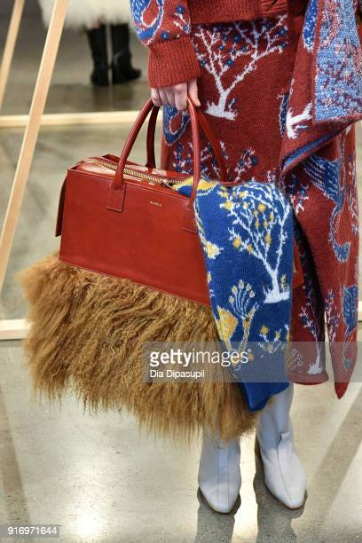 A mode bag detaill poses for Claudia Li presentation during New York Fashion Week The Shows at Gallery II at Spring Studios on February 11 2018 in...