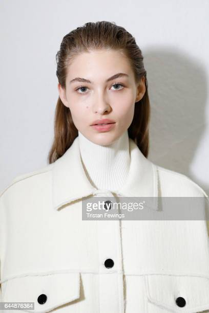 A mode isl seen backstage ahead of the Sportmax show during Milan Fashion Week Fall/Winter 2017/18 on February 24 2017 in Milan Italy