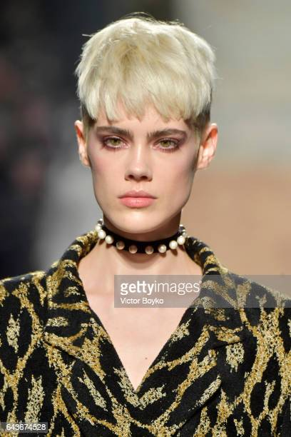 A mode necklace detaill walks the runway at the Angelo Marani show during Milan Fashion Week Fall/Winter 2017/18 on February 22 2017 in Milan Italy