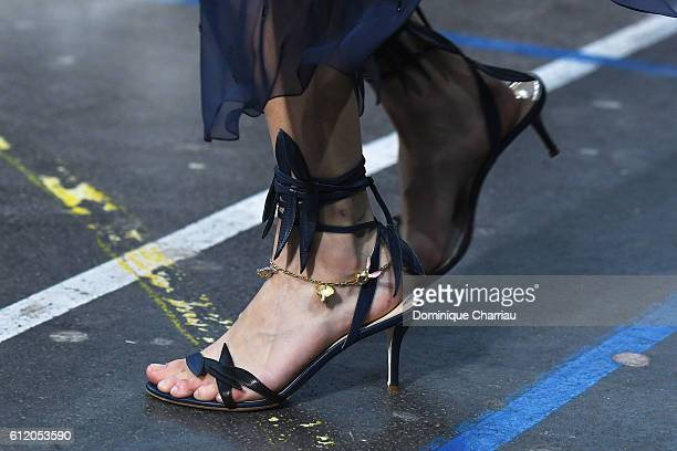 A mode shoes detaill walks the runway during the John Galliano show as part of the Paris Fashion Week Womenswear Spring/Summer 2017 on October 2 2016...