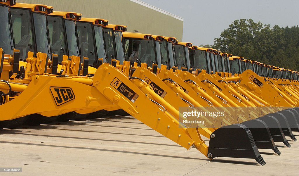 Model 215 JCB backhoe loaders sit in the company's North